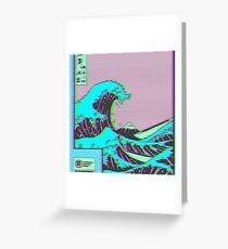 Tarjeta de felicitación La gran ola de Vaporwave Kanagawa