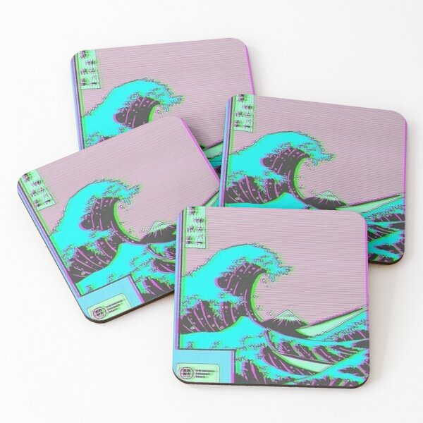 The Great Wave off Vaporwave Kanagawa Coasters (Set of 4)