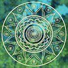 Mandala Green Bokeh by danita clark