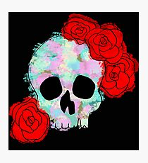 Pastel Skull with Roses Photographic Print