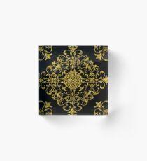Gold Glitter Flower Of Life Design On Black Acrylic Block