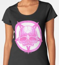 PINK PENTAGRAM SKULL - Art By Kev G Women's Premium T-Shirt