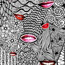 Lips Doodle Art Drawing by julieerindesign