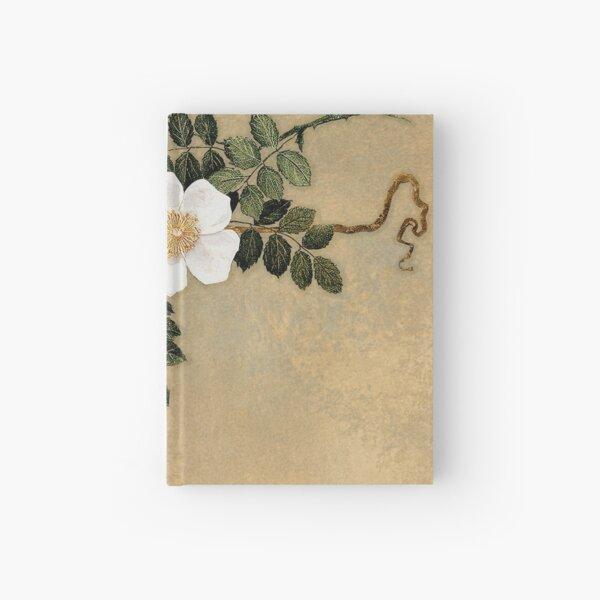White Roses on gold Hardcover Journal