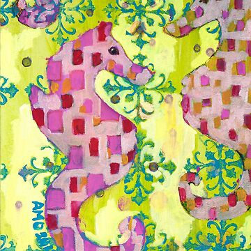 Pink Seahorses by AMOpainting