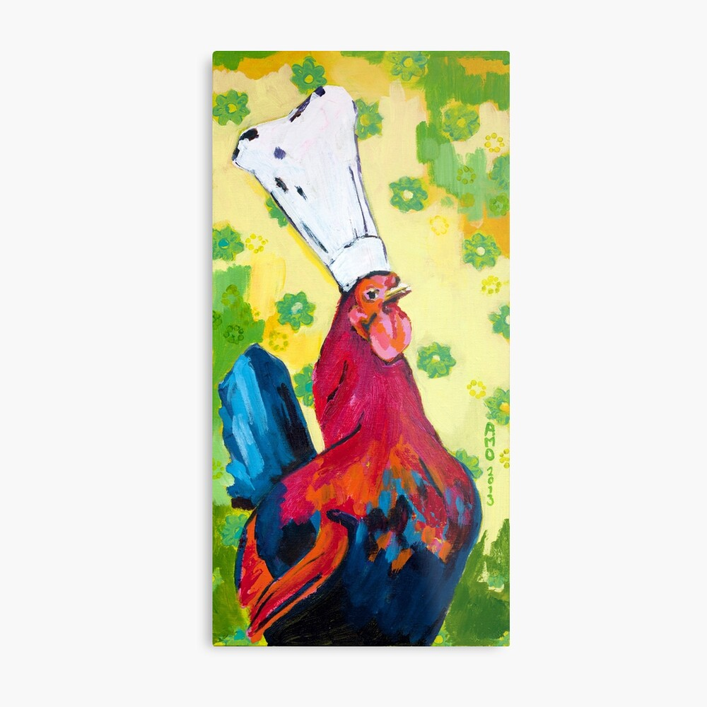 Rooster Chef Metal Print