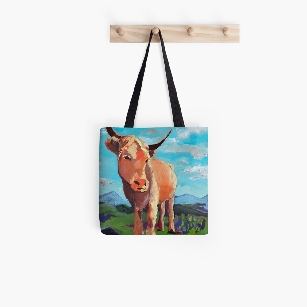 Orange Highland Cow with Mountains Tote Bag
