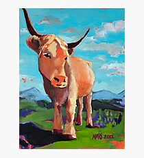 Orange Highland Cow with Mountains Photographic Print