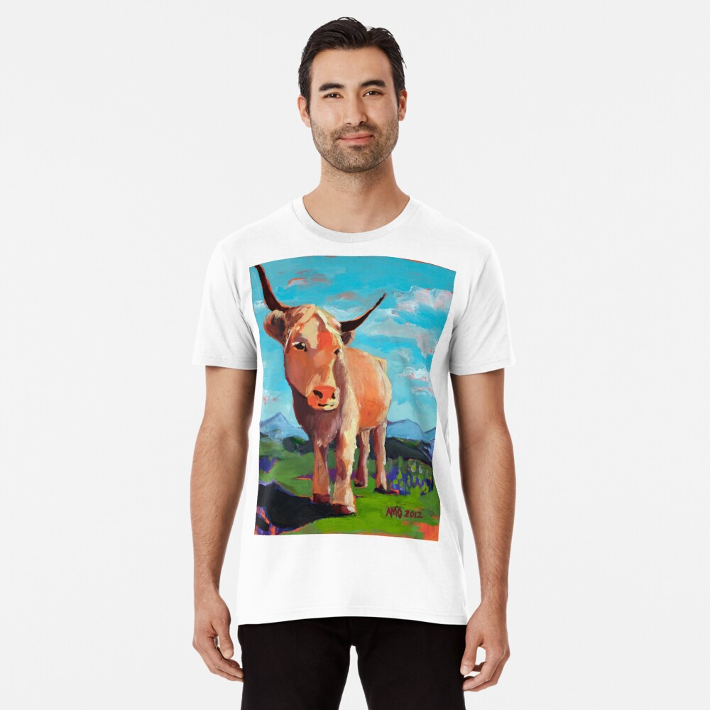 Orange Highland Cow with Mountains Premium T-Shirt