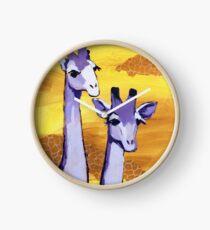 Purple Giraffes Clock