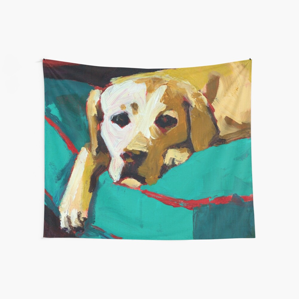 Sleepy Yellow Lab Wall Tapestry