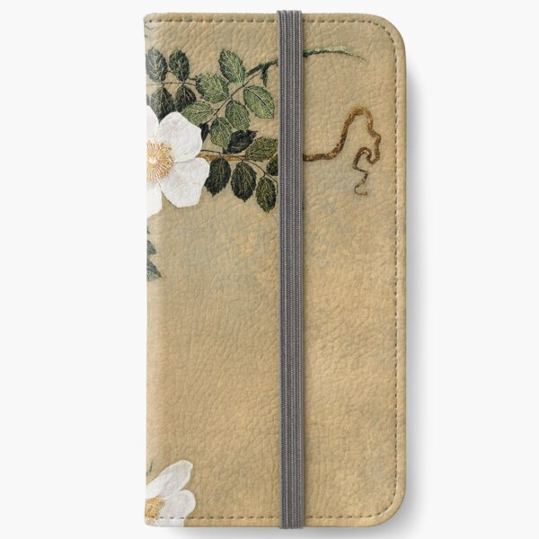 White Roses on gold iPhone Wallet