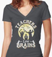 Teachers Love Brains Funny Zombie Halloween T-Shirt Gift  Women's Fitted V-Neck T-Shirt