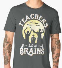 Teachers Love Brains Funny Zombie Halloween T-Shirt Gift  Men's Premium T-Shirt