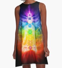 Chakras and energy flow on human body art photo print A-Line Dress