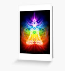 Chakras and energy flow on human body art photo print Greeting Card