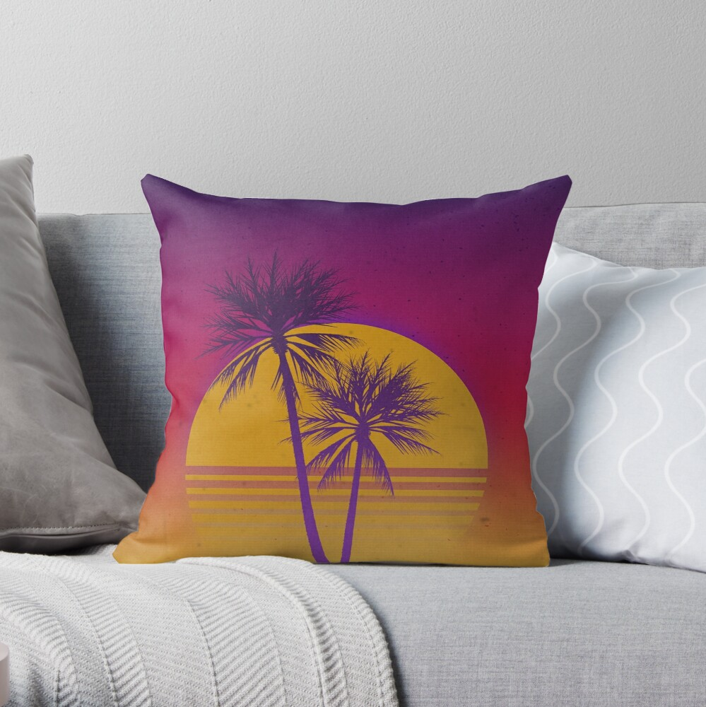 Neon Sunset Throw Pillow By Fobriendesigns Redbubble