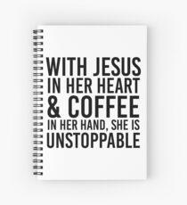 Cuaderno de espiral Con Jesús en su corazón y café en la mano, es imparable