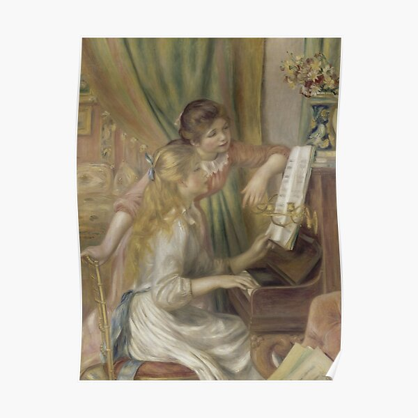 Young Girls at the Piano Oil Painting by Pierre Auguste Renoir Poster