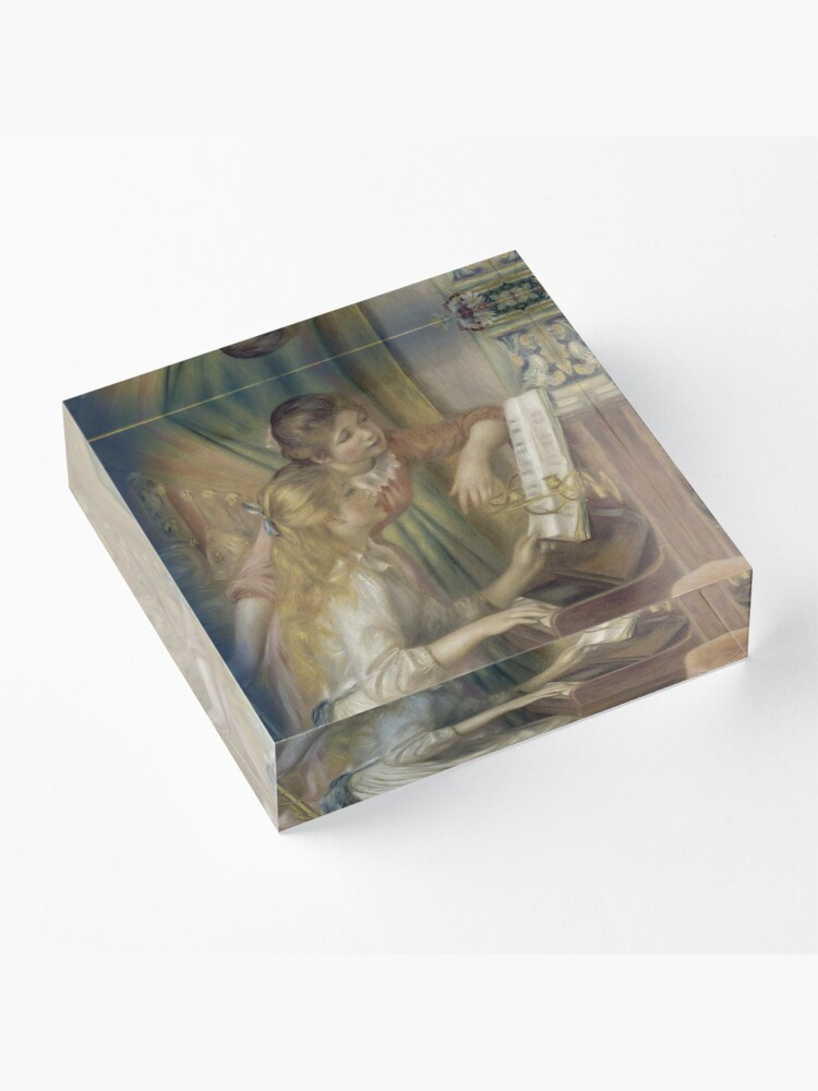 Alternate view of Young Girls at the Piano Oil Painting by Pierre Auguste Renoir Acrylic Block