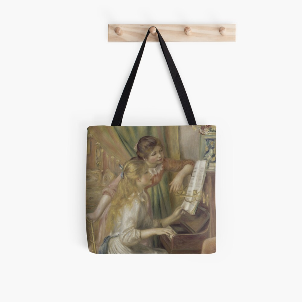Young Girls at the Piano Oil Painting by Pierre Auguste Renoir Tote Bag