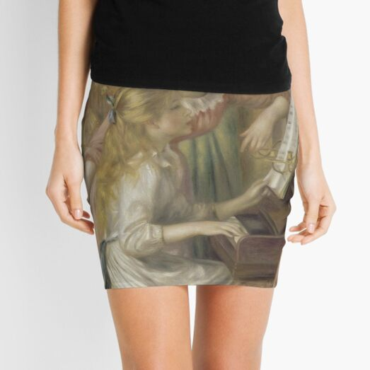 Young Girls at the Piano Oil Painting by Pierre Auguste Renoir Mini Skirt