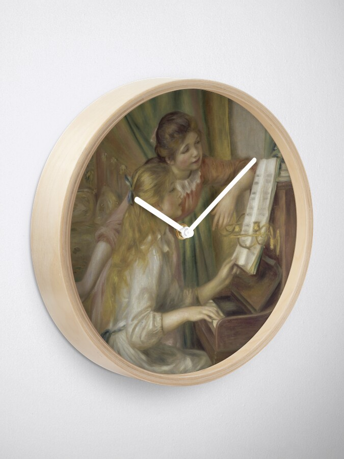 Alternate view of Young Girls at the Piano Oil Painting by Pierre Auguste Renoir Clock
