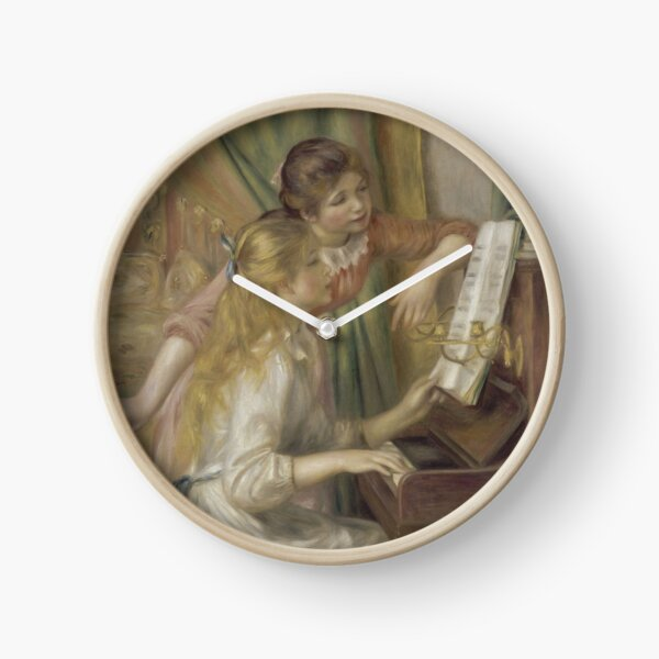 Young Girls at the Piano Oil Painting by Pierre Auguste Renoir Clock