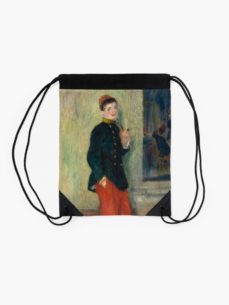 Alternate view of The Young Soldier oil Painting by Auguste Renoir Drawstring Bag