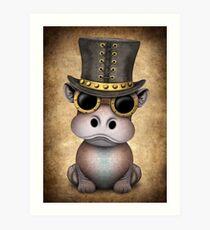 Steampunk Baby Hippo Art Print