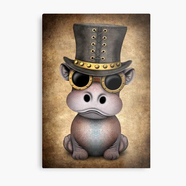 Steampunk Baby Hippo Metal Print