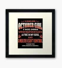 October Birthday Gift For Girl Born With Heart On Sleeve Framed Print