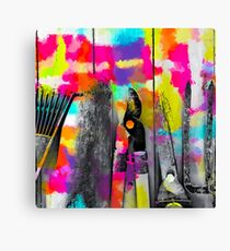 gardening tool with colorful wood painting abstract background in pink yellow blue orange purple Canvas Print