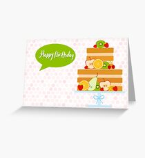 Happy Birthday Fruit Cake Greeting Card