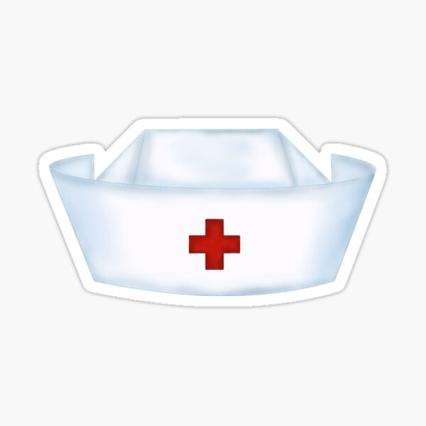 White Cap with Red Cross Sticker