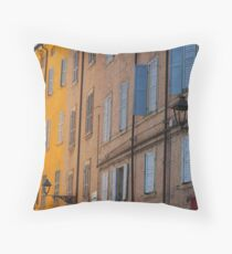 Modena - Blue and yellow streetscape Throw Pillow