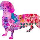 Weenie the Wiener Dog Mixed Media Painting by MandalaArts
