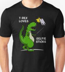 T-Rex Dinosaur Loves Selfie Sticks T-Shirt