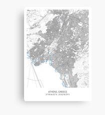ATHENS MAP Canvas Print