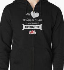 Firefighter Lover Birthday Surprise My Heart Belongs Zipped Hoodie