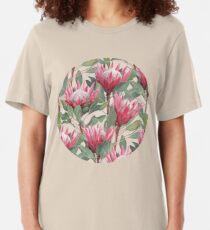 Painted King Proteas on Cream  Slim Fit T-Shirt