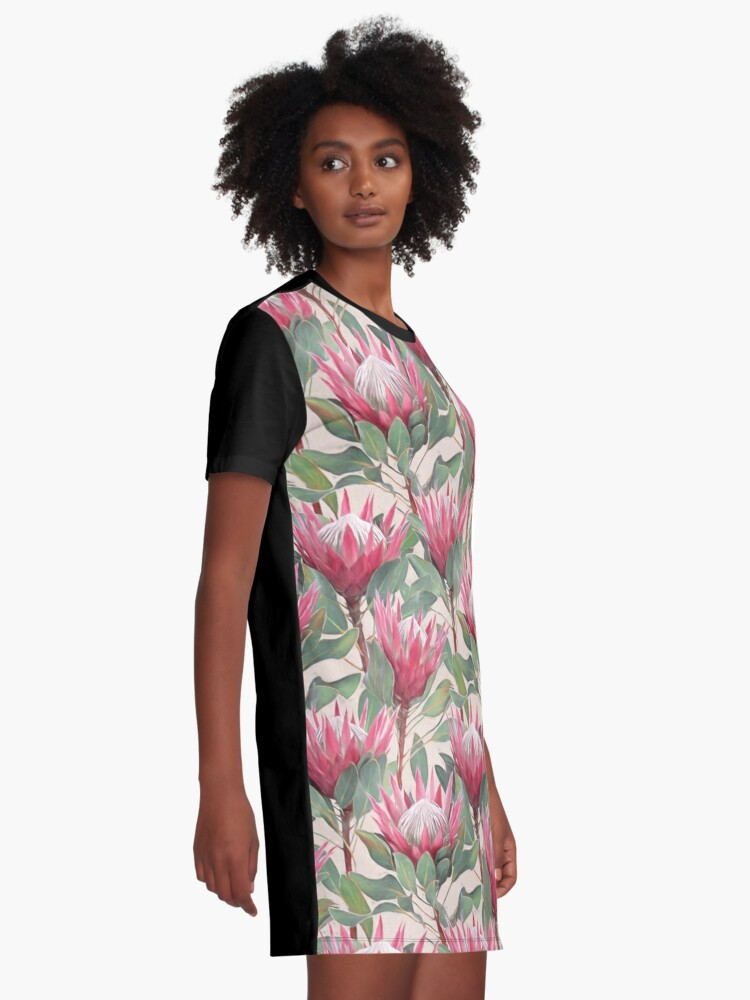 Alternate view of Painted King Proteas on Cream  Graphic T-Shirt Dress