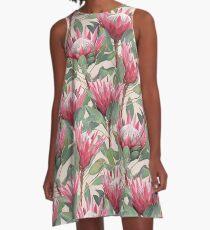 Gemalte König Proteas auf Creme A-Linien Kleid