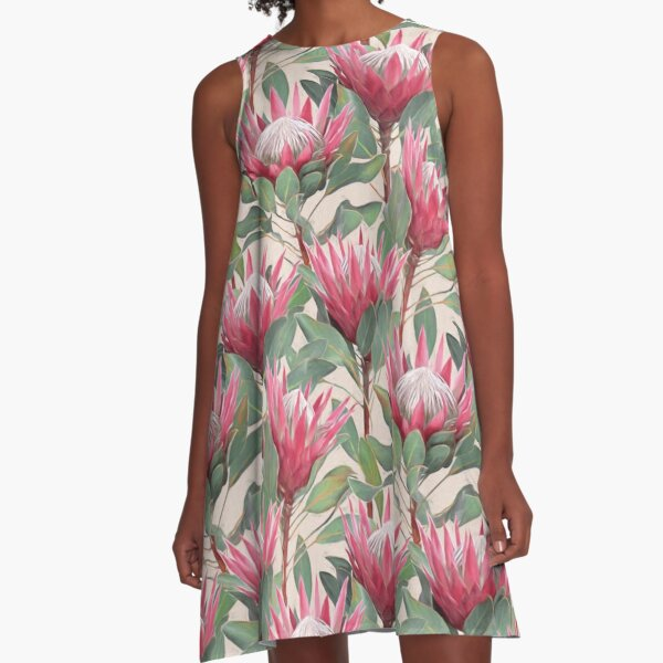Painted King Proteas on Cream  A-Line Dress