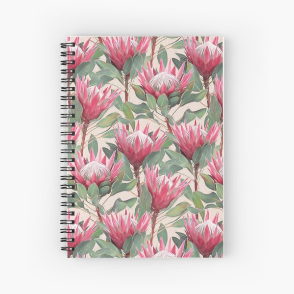 Painted King Proteas on Cream  Spiral Notebook