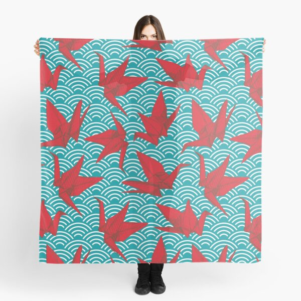 Red Origami Birds paper cranes sketch seamless pattern. burgundy maroon Nature oriental background with japanese seigaiha wave  Scarf