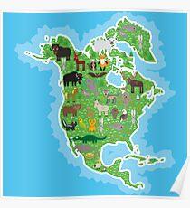 Northern America Animal Map Green Poster