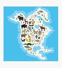Northern America Animal Map Photographic Print