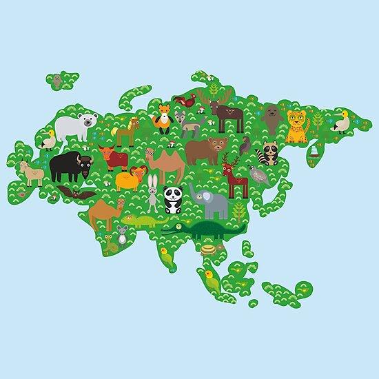Eurasia Animal Map Green by EkaterinaP
