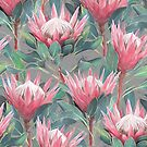 Painted King Proteas - pink on grey by micklyn